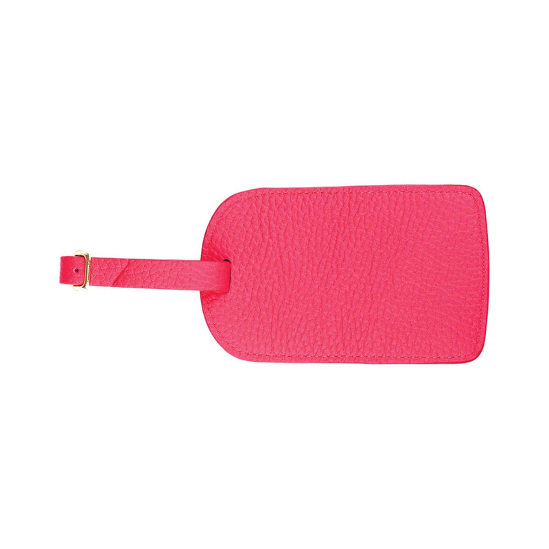 Monogrammed Amelia Leather Luggage Tag - Strawberry Pebbled