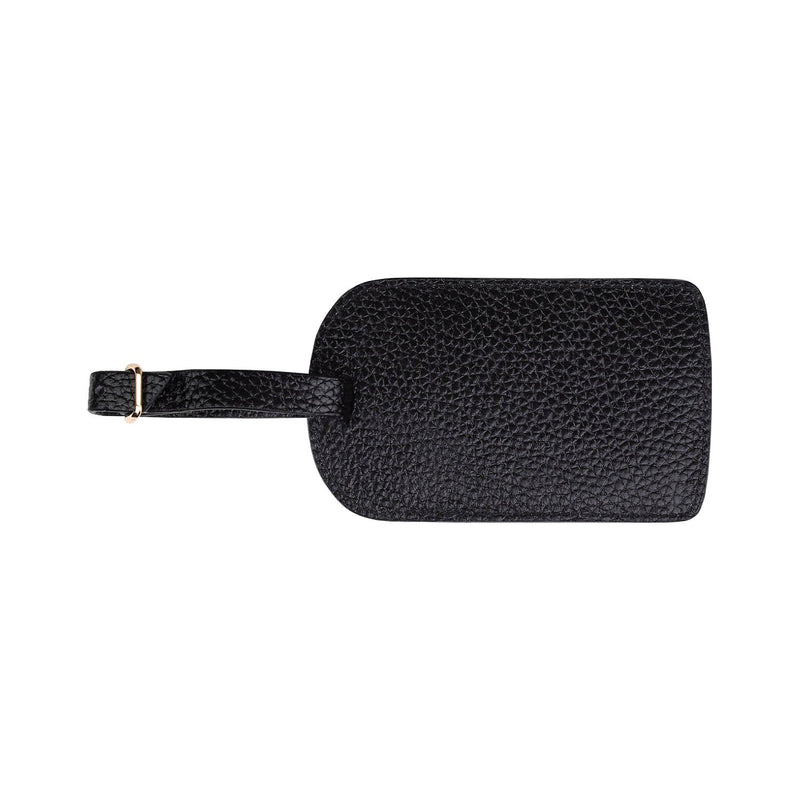 Monogrammed Amelia Leather Luggage Tag - Jet Saffiano