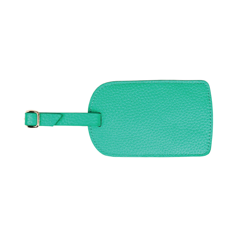 Monogrammed Amelia Leather Luggage Tag - Mint Pebbled