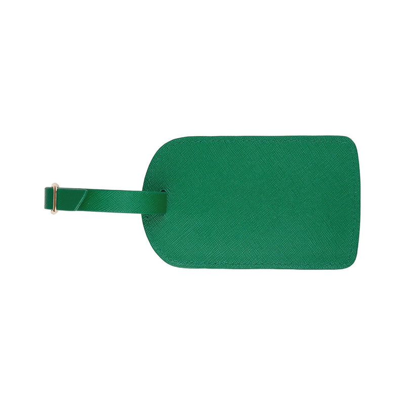 Monogrammed Amelia Leather Luggage Tag - Green Saffiano