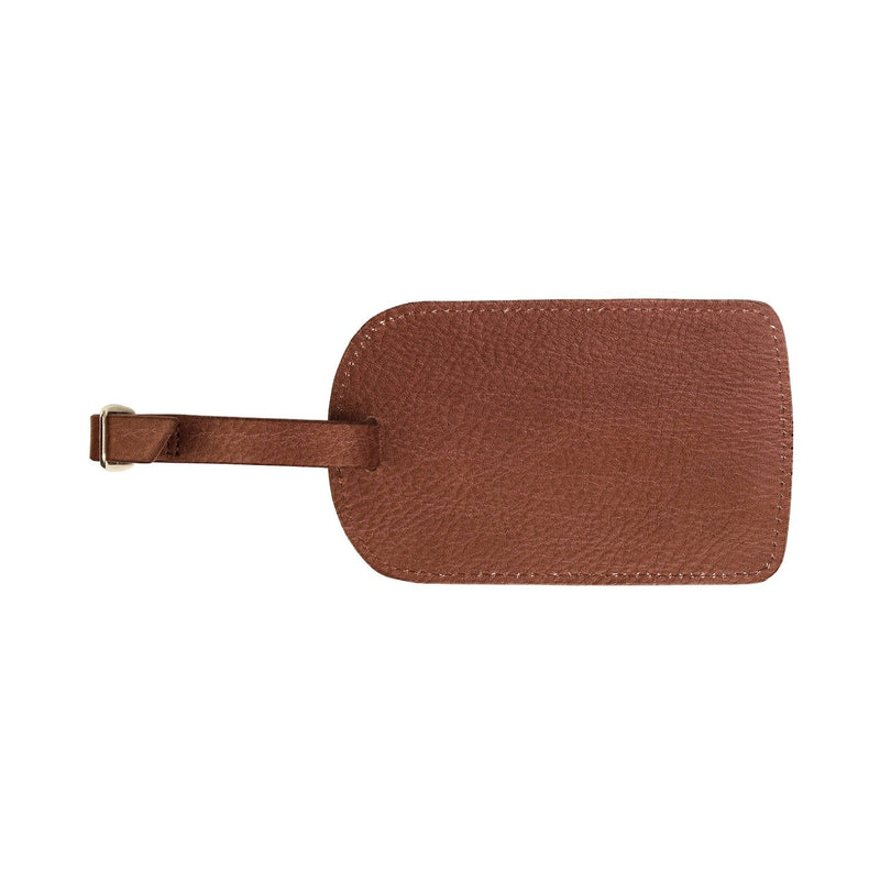 Monogrammed Amelia Leather Luggage Tag - Coffee Pebbled