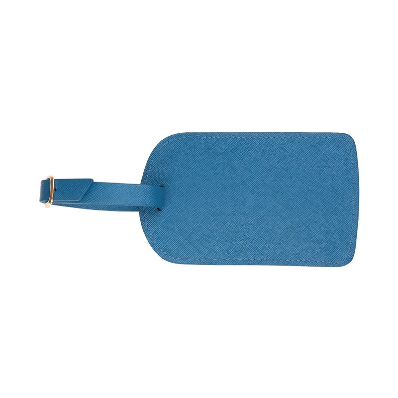 Monogrammed Amelia Leather Luggage Tag - Blue Saffiano