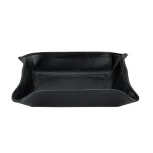 Medium Leather Catchall - Personalized - Black