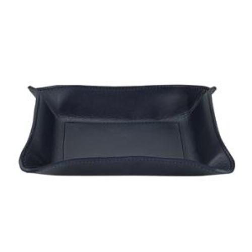 Medium Leather Catchall - Personalized - Navy