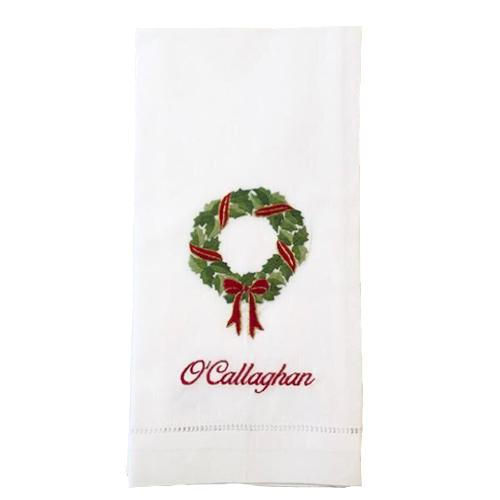 Holly Wreath Guest Towel