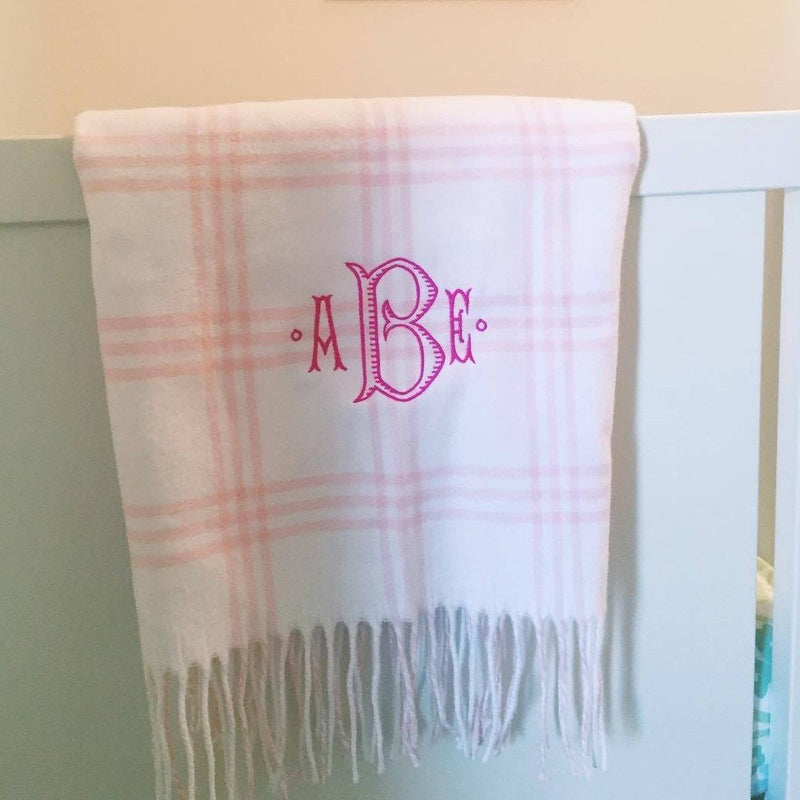 Monogrammed Flannel Check Baby Blanket