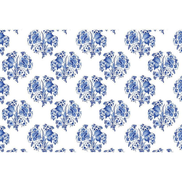 Blue Block Print Paper Placemats, Set of 25