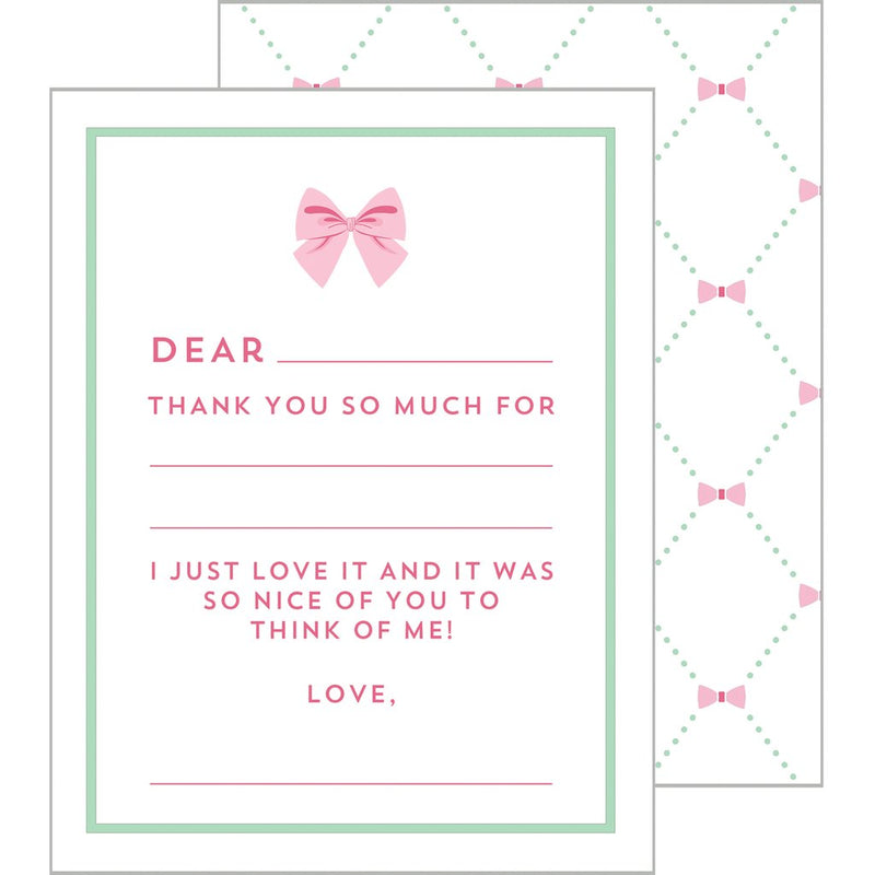 Child's Fill-in-the-Blanks Thank You Cards - Pink Bow