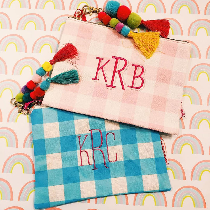 Small Gingham Canvas Zip - Monogrammed