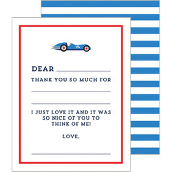 Child's Fill-in-the-Blanks Thank You Cards - Car