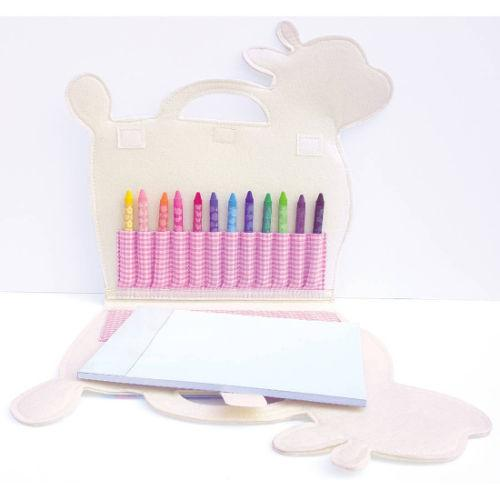 Inside Illama Art Folio - crayons, paper - for kids - monogrammable