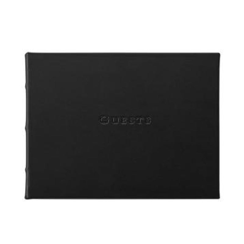 Leather Guest Book - Black - Personalized