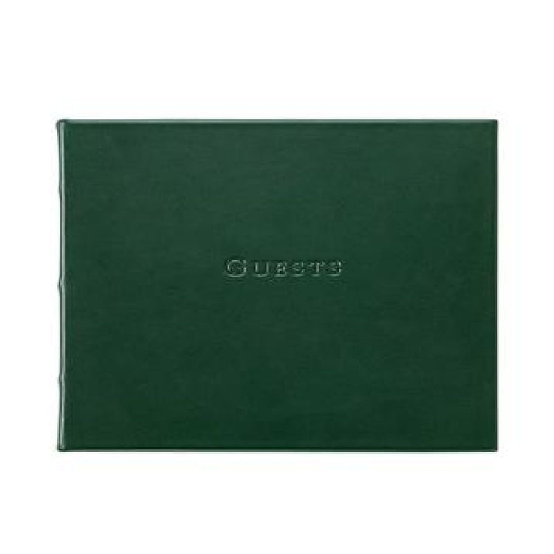Leather Guest Book - Green - Personalized