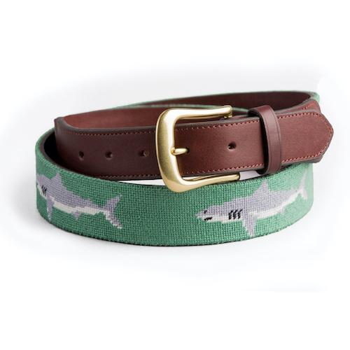 Needlepoint Belt - Shark on Moss Green