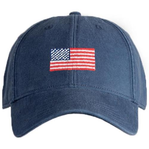Needlepoint Baseball Hat - Adult - American Flag - Navy