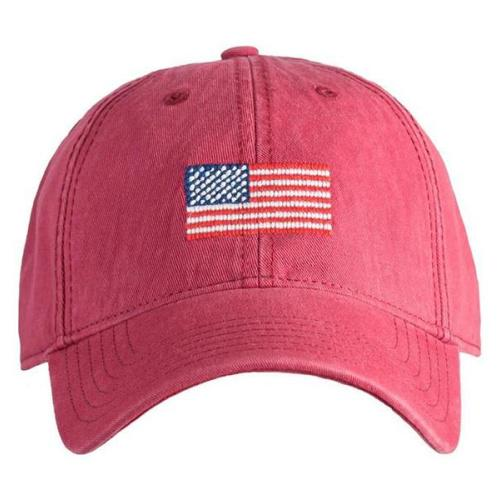 Needlepoint Baseball Hat - Adult - American Flag - Red