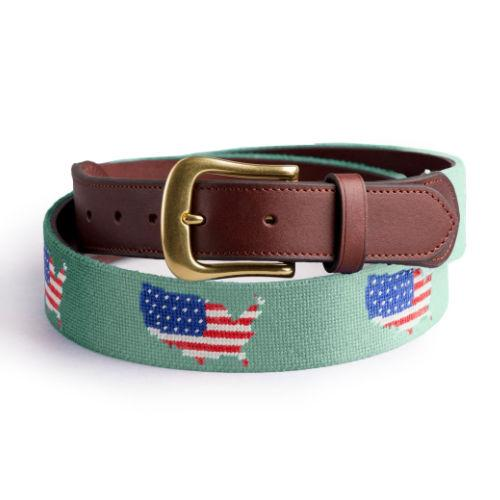 Needlepoint Belt - USA on Green background