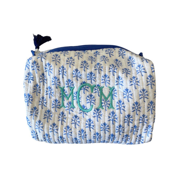 blue block print toiletry case