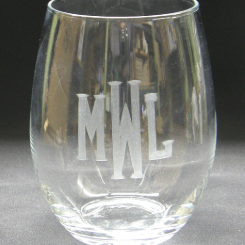 Stemless Wine Glasses - Monogrammed