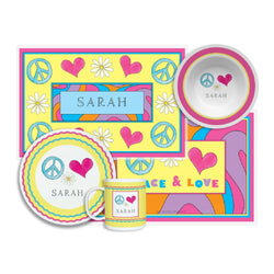 Peace Love Eat Tabletop Collection - 4-piece set - Personalized