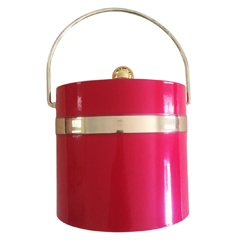 Ice Bucket with Gold Trim - Personalized - Red