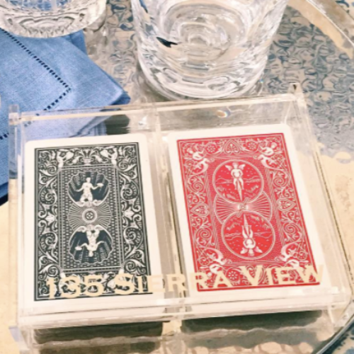 Lucite Playing Card Holder - Personalized