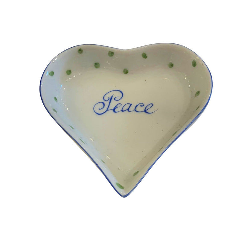 Hand painted porcelain Peace heart dish