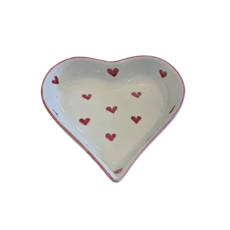 Hand painted porcelain red hearts dish