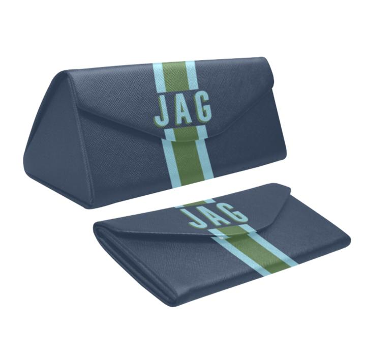 Personalized Eyeglass Case - Navy, Blue, Green
