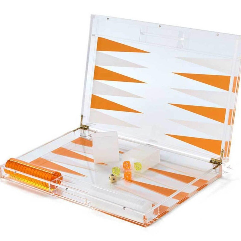 orange and clear lucite backgammon set