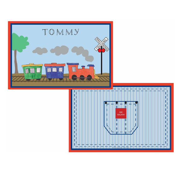 All Aboard Train Tabletop Collection - placemats, personalized