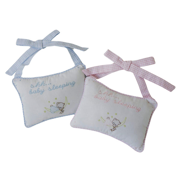 Baby Sleeping Door Pillows - Available in Pink or Blue