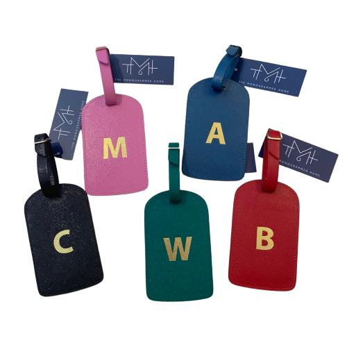 Monogrammed Amelia Leather Luggage Tag - Various Colors