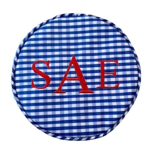 Monogrammed Gingham Jewelry Case. Royal