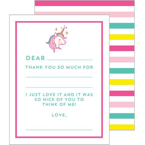 Child's Fill-in-the-Blanks Thank You Cards - Unicorn