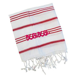 Stripe Turkish Hand Towel - White with Red - Personalized