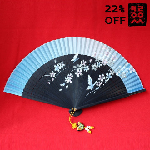 Bamboo_Fan_Folding-type_Blue_Butterfly_Flower_Accessory_In_the_Bag_Gift_and_Souvenir_Korean_Essentials