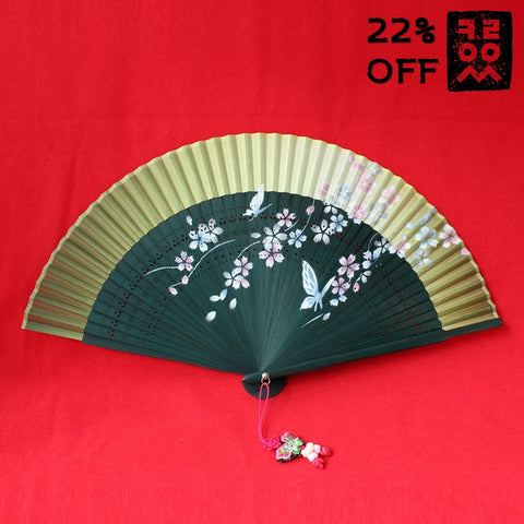 Bamboo_Fan_Folding-type_Green_Butterfly_Flower_Accessory_In_the_Bag_Gift_and_Souvenir_Korean_Essentials