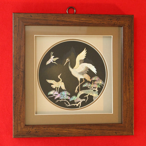 Hand-made_Hand-carved_Mother_of_Pearl_Artwork_in_Wooden_Frame_Crane_Home_Decor_Collectible_Asian_Furniture_Korean_Essentials