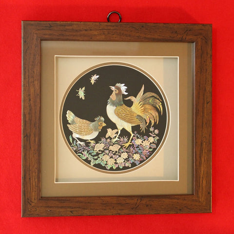 Hand-made_Hand-carved_Mother_of_Pearl_Artwork_in_Wooden_Frame_Rooster_Home_Decor_Collectible_Asian_Furniture_Korean_Essentials