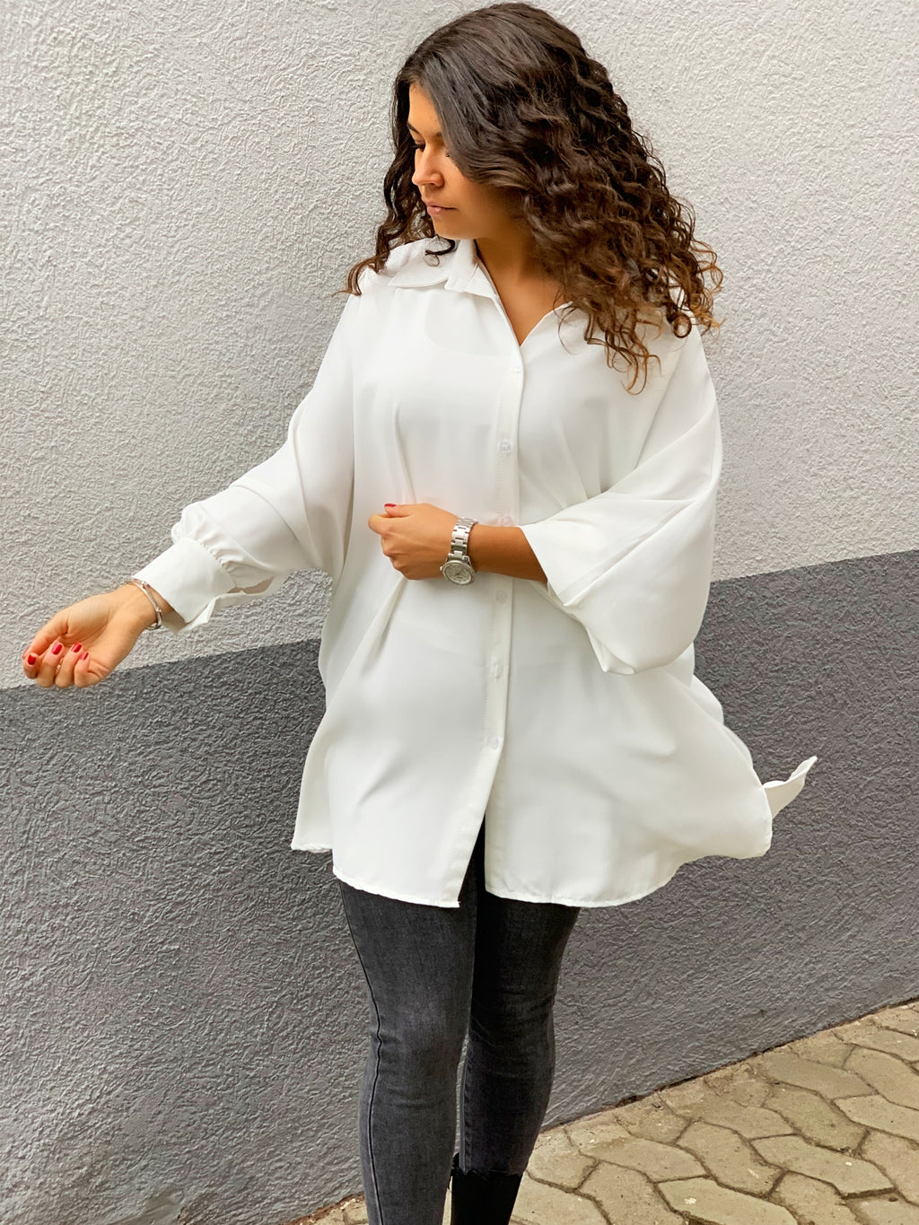 Oversize Long Bluse Weiß
