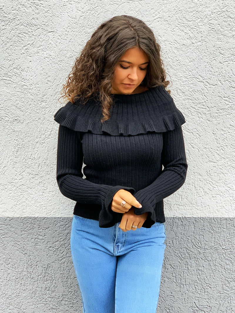 Off Shoulder Pullover Schwarz