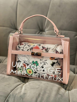 Tasche BIG Transparent Un Voyage Rosa