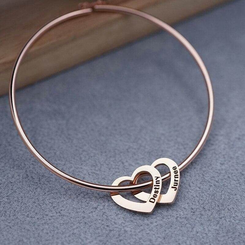 Mother's Day Gift with Kids Names Heart Charm Bracelet