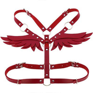 Wings Red Leather Harness Lingerie