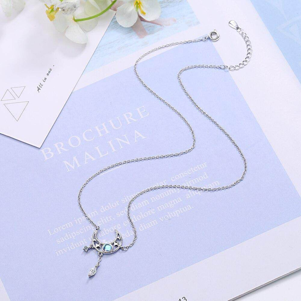 S925 Crescent Moon Moonstone Necklace