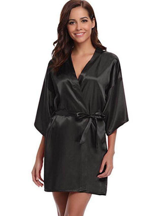Satin Dressing Gown - Pink, Purple, Black, Navy - Love By Letterbox