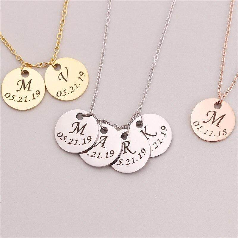 Personalised Initial & Date Disc Necklace