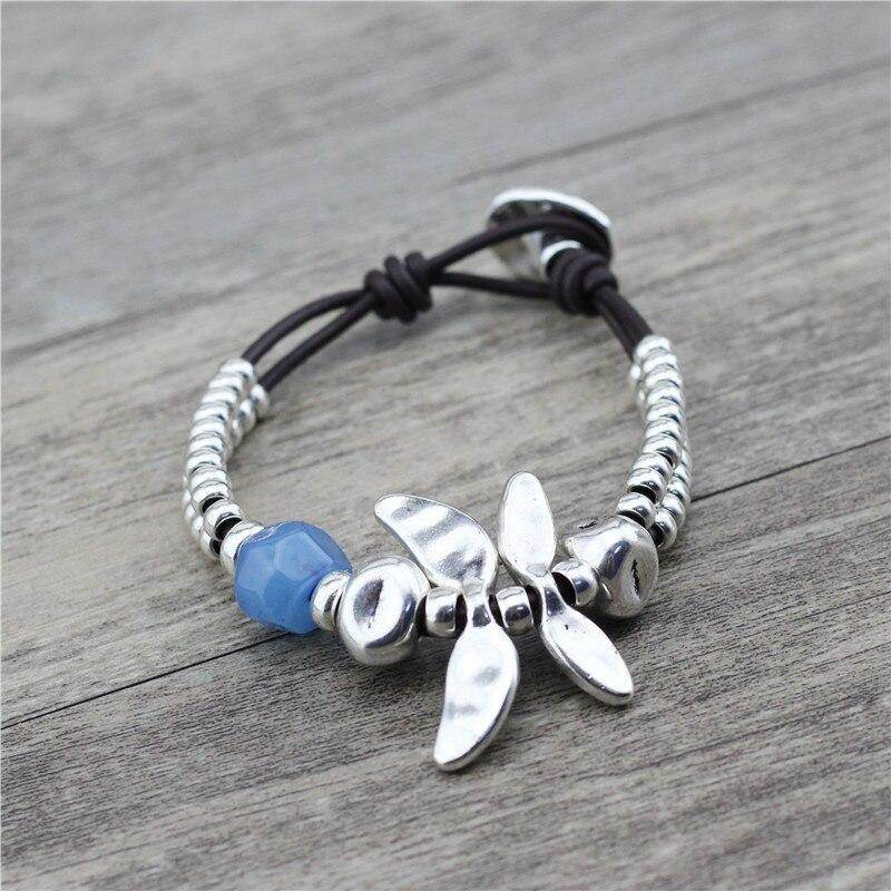 Dragon Fly Leather Bracelet - Dragon Fly Bracelet