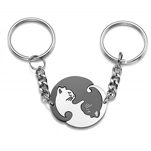 White & Black Cat Couple Keyring-Love By Letterbox
